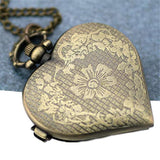 Locket Watch Necklace Antique Bronze Filigree Heart - Timeless Treasure