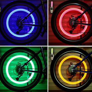 2pcs Neon Bike Tire Valve Cap Lights