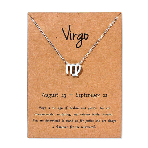 12 Zodiac Sign Necklace with Gold Card