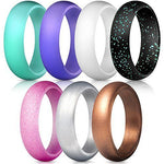 7 Pack Silicone Wedding Band Ring for Women
