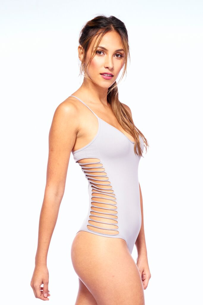 Grey Seamless Cut Out Active Wear Boost Bodysuit | Blend In Zen