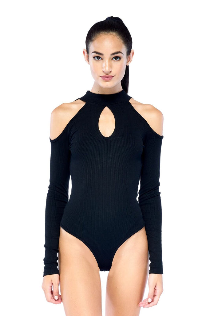 Black Shoulder Cut Out Lean In Bodysuit | Blend in Zen