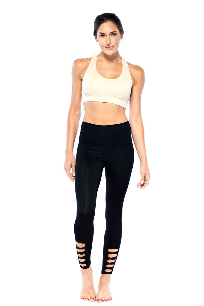 Cool Girl Black Caged Active Wear Legging | Blend In Zen