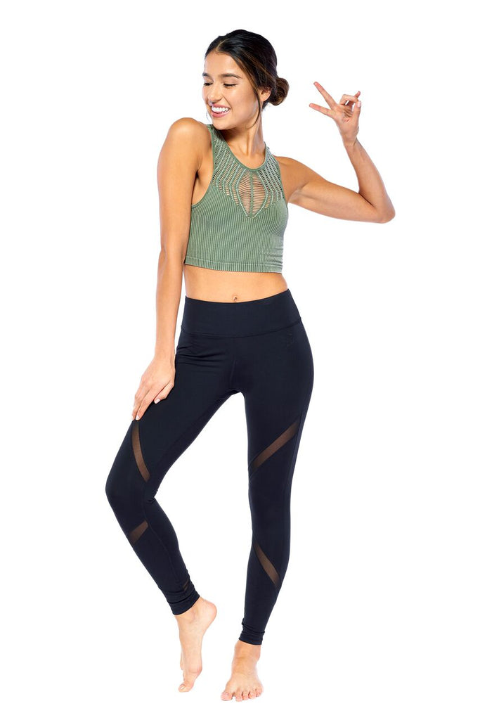 The Halter Cut Out Crop Tank in Army | Blend in Zen