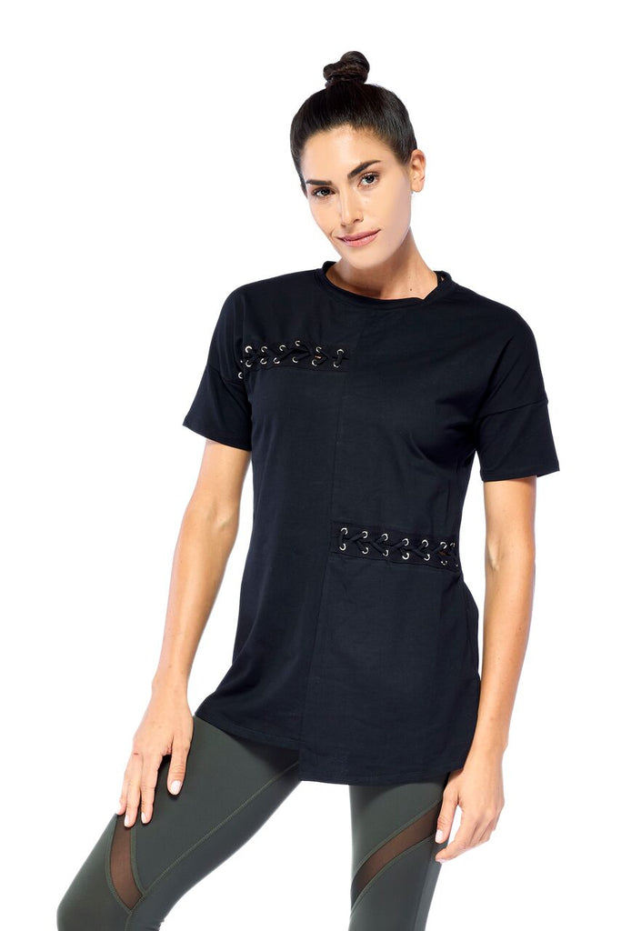 Black Laced up Tee | Blend in Zen