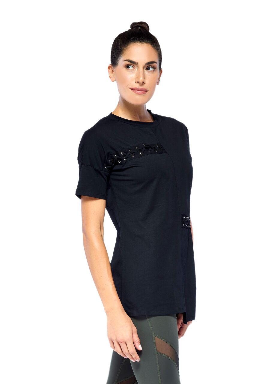 Blend In Zen Laced up T-Black