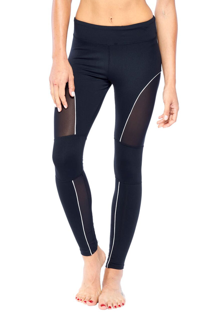 Black Mesh-Pipe Active Wear Legging | Blend in Zen