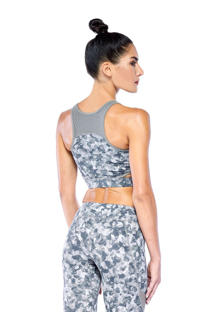 Cut Out Racer Back Military Print Active Wear Bra | Blend in Zen