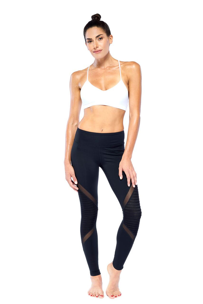 Black Biker Mesh Active Wear Legging | Blend In Zen