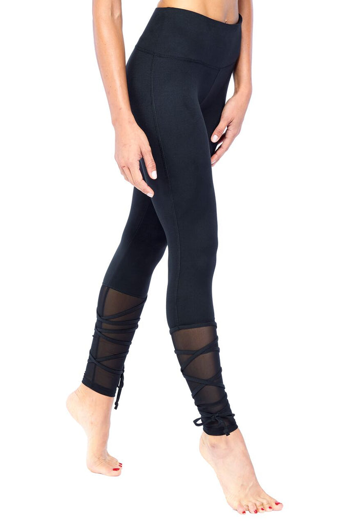 Black Lace Up Ballerina Mesh Active Wear Legging  | Blend In Zen
