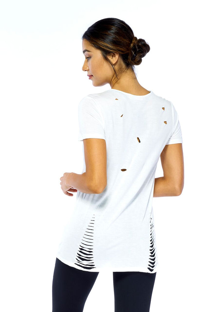 White Distressed Short Sleeve Tee | Blend in Zen
