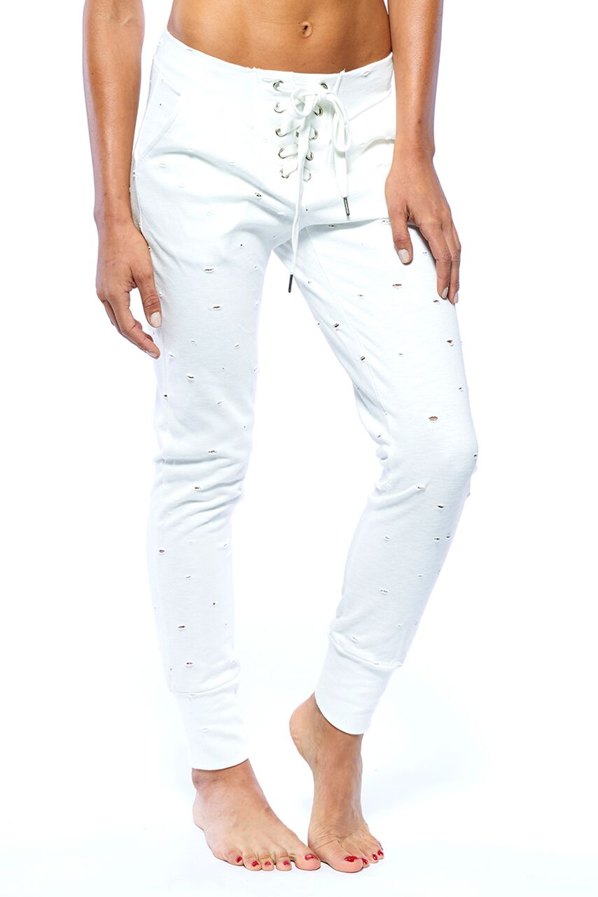 Distressed Joggers-White