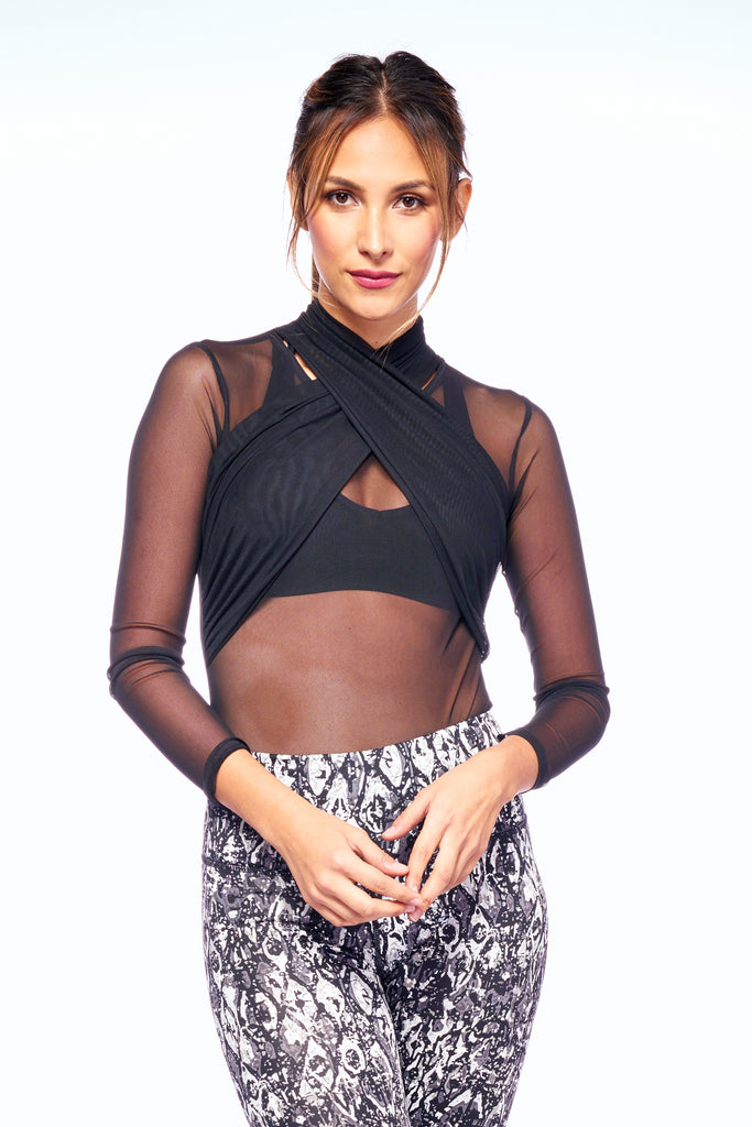 Black Mesh High Neck Breath-Taking Bodysuit | Blend In Zen