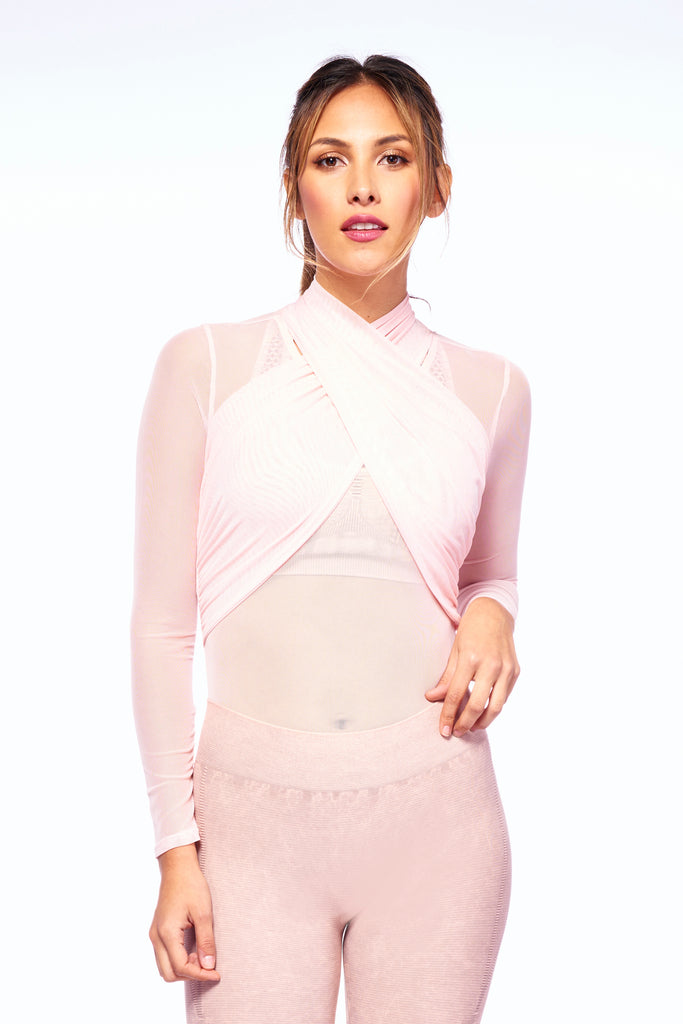 Pink Mesh Breath-Taking High Neck Bodysuit | Blend In Zen