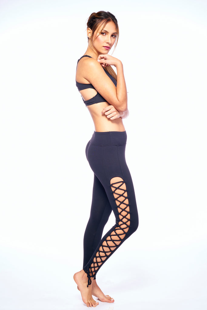 Black Strappy Barby Active Wear Legging | Blend In Zen