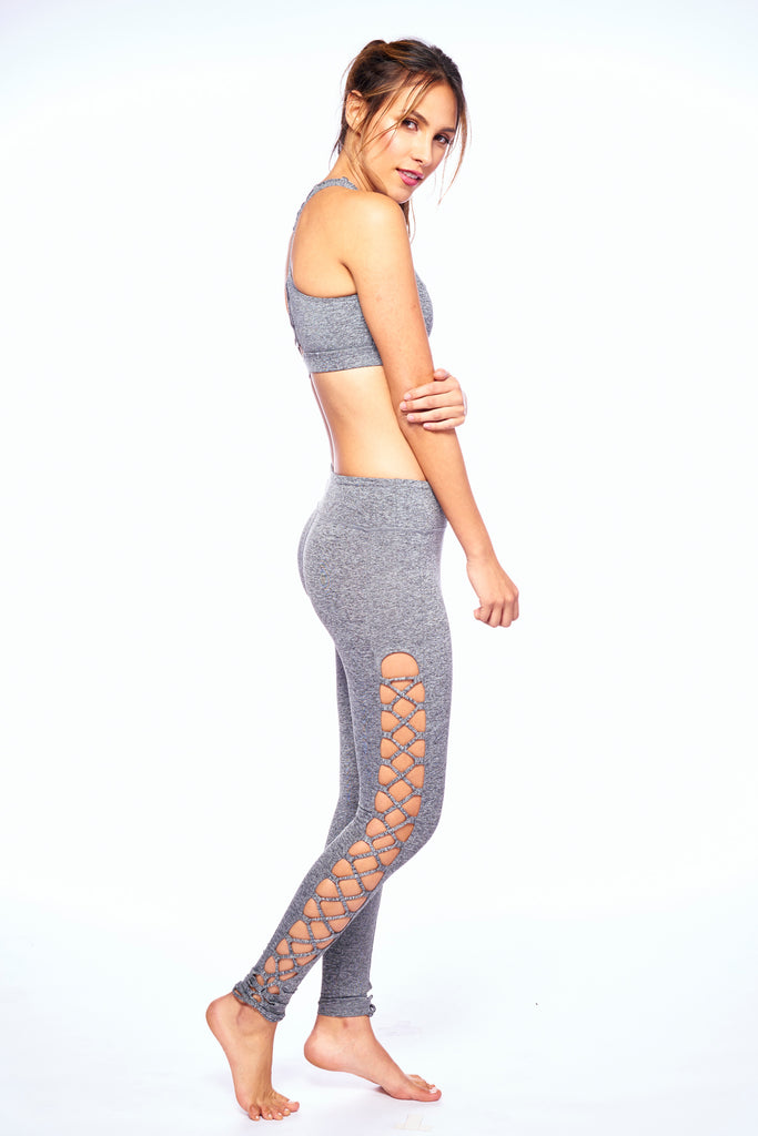 Heather Grey Strappy Barby Active Wear Legging | Blend In Zen