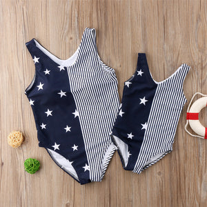 Striped Split Stars One-Piece Matching Swimsuit For Mother & Daughter - lil giggles baby supply
