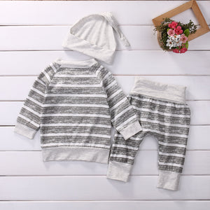 Striped Grey 3 Piece Outfit for 0 - 18 Months - lil giggles baby supply