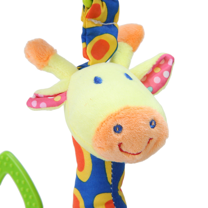 Plush Infant Teether Soft Giraffe Animal Handbells Rattles Handle Toy - lil giggles baby supply