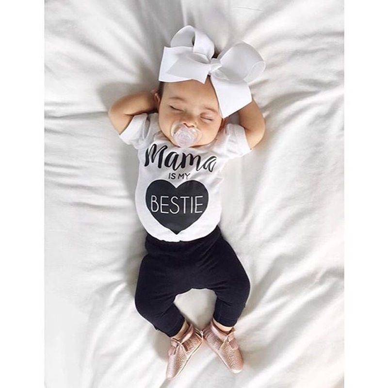 Mama Is My Bestie 2 Piece Outfit for 0 - 24 Months - lil giggles baby supply