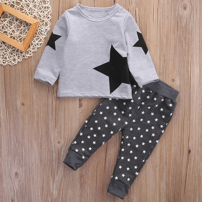 Super Star Grey & Black 2 Piece Outfit for 12M - 5T - lil giggles baby supply