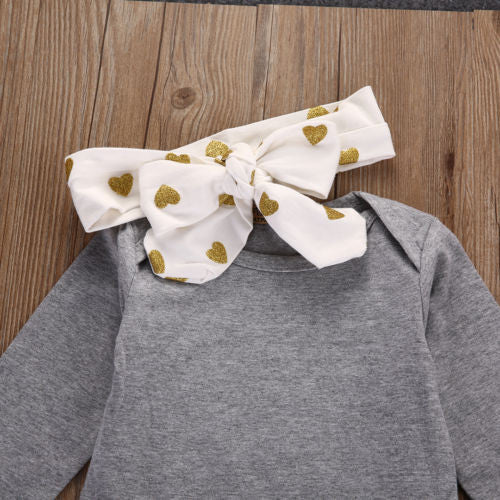 Cute Golden Heart 3 Piece Outfit for 3 - 18 Months - lil giggles baby supply