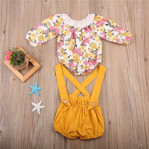 Long Sleeve Floral Baby Girls Outfit for 3 - 24 Months - lil giggles baby supply