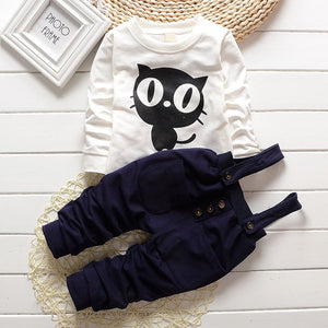 Curious Kitty Overalls & Shirt 2 Piece Outfit for 0 - 24 Months - lil giggles baby supply