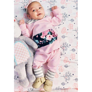 Pink Spring Floral 2 Piece Outfit for 6M - 24M - lil giggles baby supply