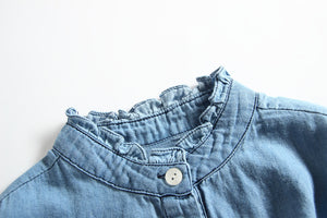 Denim Style Long Sleeve Dress for 2T - 10T - lil giggles baby supply