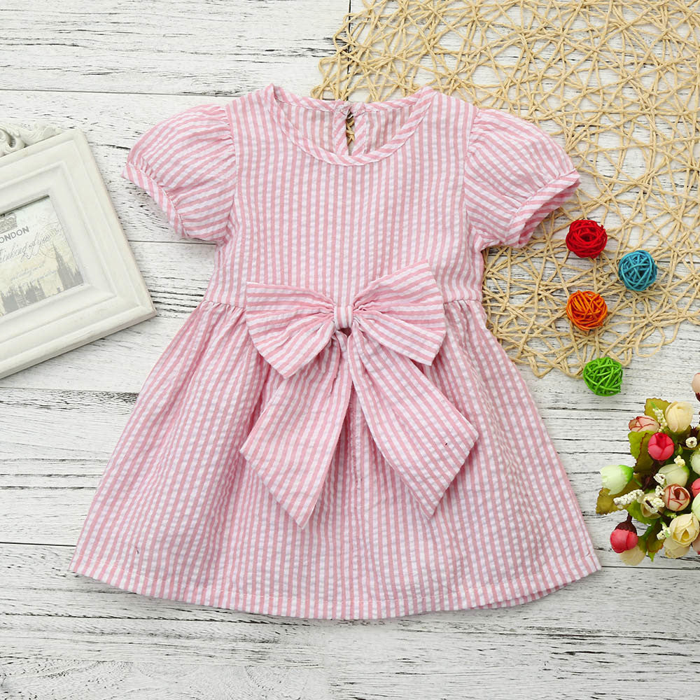 Striped Spring Dress With Bow For 6 - 24 Months - lil giggles baby supply