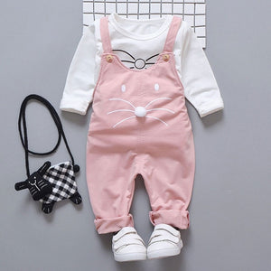 Rabbit Dang-Nabbit 2 Piece Overall Outfit for 9M - 24M - lil giggles baby supply