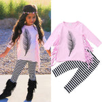 Feather & Tassle 2 Piece Outfit for 24M - 6T - lil giggles baby supply