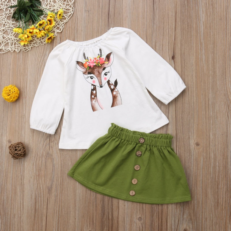 Docile Deer 2 Piece Outfit For 12M - 5T - lil giggles baby supply