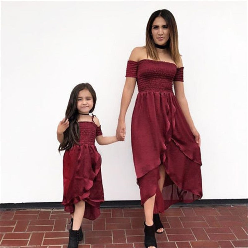 Maroon Mother & Daughter Off Shoulders Matching Dress - lil giggles baby supply