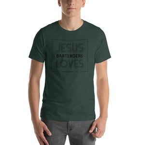 Jeusus Loves Bartenders Short-Sleeve Unisex T-Shirt