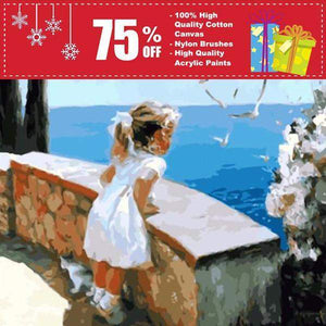 "DIY Canvas Oil Painting Kit-(""16 x 20 in."") 40 x 50 cm -Small Girl By the Sea-SunrizaCo"