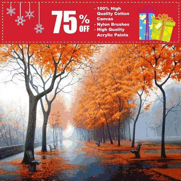 DIY Painting By Numbers - Autumn Rain Road (16
