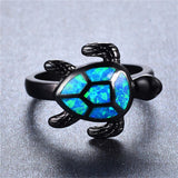 Blue Fire Opal Animal Turtle Ring