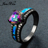 Charm Multicolor Heart Zircon Blue/White/Pink Fire Opal Rings