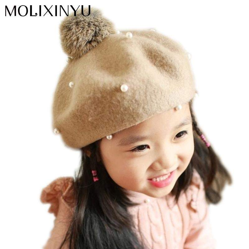 Wool Baby Beret Cap For Girls-SunrizaCo