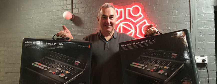 Grant Harper with 2 Blackmagic ATEM TVS Pro HD's