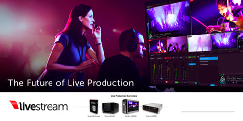 woman and man working with livestream production equipment