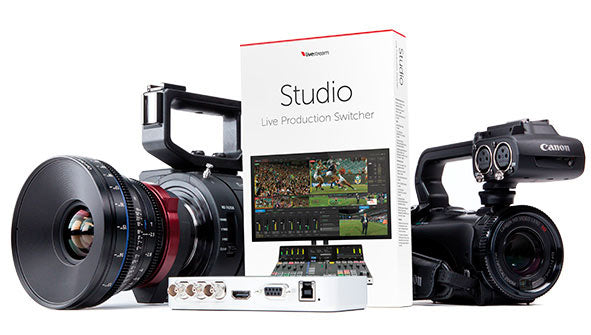 Livestream Studio Software Beta Box with cameras and live stream transmitter