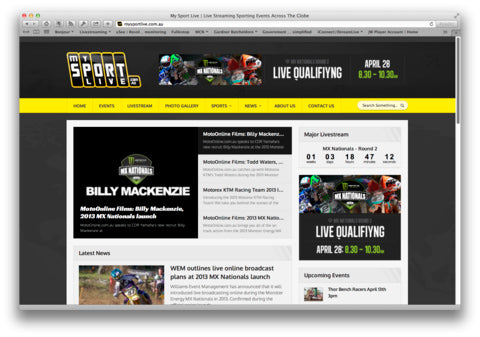 My Sport Live website screenshot