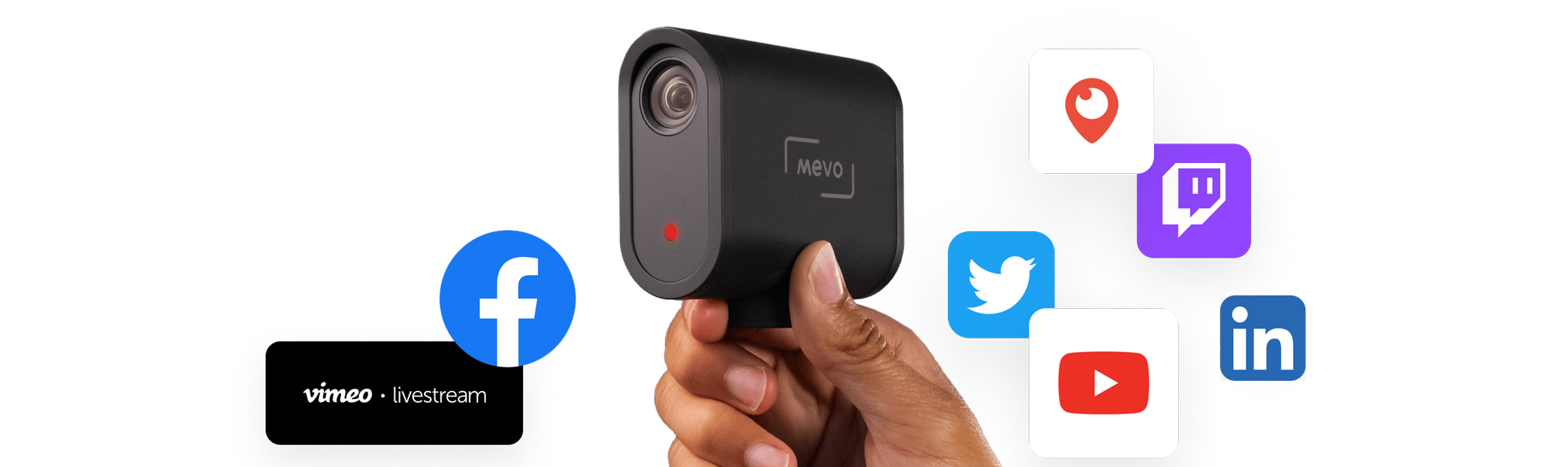 Mevo Start with live streaming logos