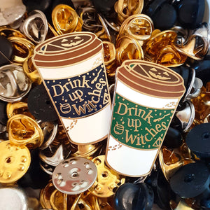 Drink Up Witches glow in the dark pins in Midnight and Cafe-Green Witchy Brew For Every Season