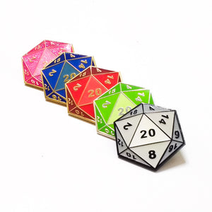 D&D Dungeons and Dragons die enamel PIN :: by BUNCEandBEAN