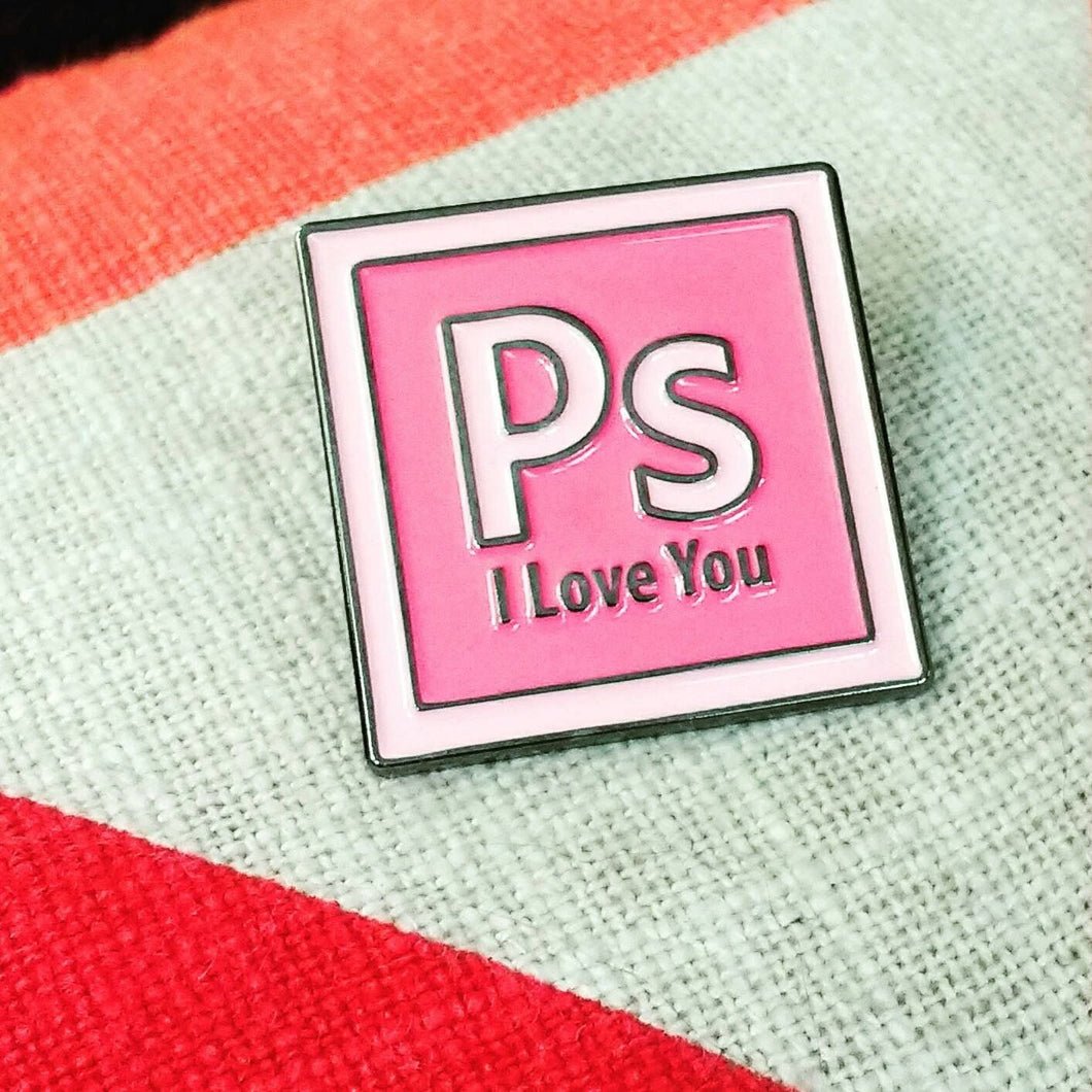 Ps I LOVE YOU enamel PIN / The Beatles Photoshop Movie :: by BUNCEandBEAN