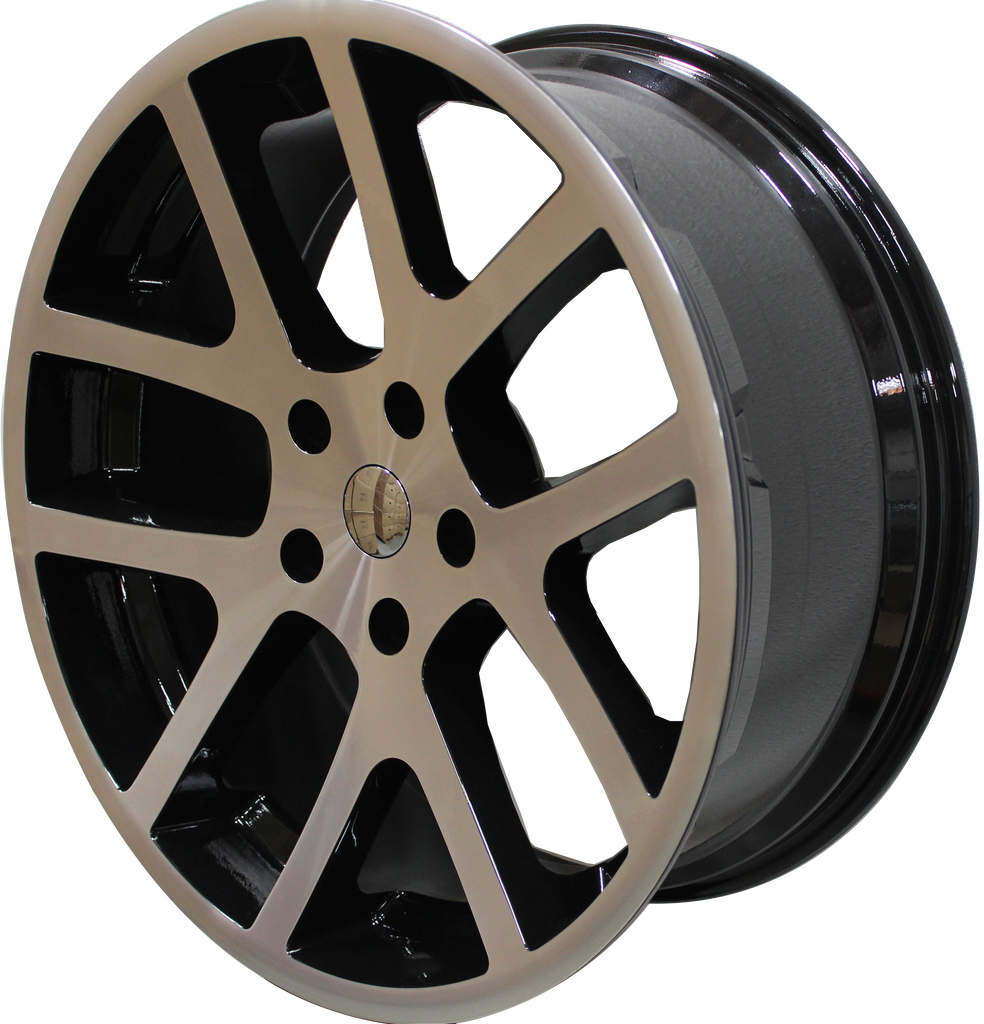 22 INCH RIMS HEMI SRT DODGE RAM 1500 MACHINED BLACK WHEELS